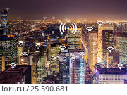 Купить «Internet of things concept in the city», фото № 25590681, снято 24 августа 2019 г. (c) Elnur / Фотобанк Лори