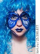 Купить «Face paint of woman with butterfly», фото № 25590877, снято 1 июня 2013 г. (c) Elnur / Фотобанк Лори