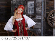 Купить «Beautiful woman portrait in russian style. Beautiful Russian girl in traditional dress. Russian style.», фото № 25591137, снято 20 июня 2014 г. (c) Воронин Владимир Сергеевич / Фотобанк Лори