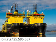 Купить «VIKING shipping line vessels. Oil support ships berthing Montrose Harbour Scotland UK.», фото № 25595557, снято 30 января 2017 г. (c) age Fotostock / Фотобанк Лори