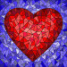 Illustration in stained glass style with red heart on blue background, иллюстрация № 25596365 (c) Наталья Загорий / Фотобанк Лори