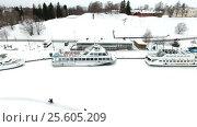 Купить «Туристические катера и корабли у пристани в городе Лаппеенранта в зимнее время года. Финляндия», видеоролик № 25605209, снято 22 февраля 2017 г. (c) Кекяляйнен Андрей / Фотобанк Лори