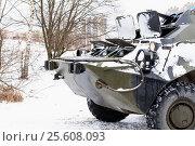 Купить «Боевая машина пехоты с открытыми люками», эксклюзивное фото № 25608093, снято 23 февраля 2017 г. (c) Александр Щепин / Фотобанк Лори