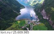 Купить «Geiranger fjord, Norway.», видеоролик № 25609985, снято 24 января 2017 г. (c) Андрей Армягов / Фотобанк Лори