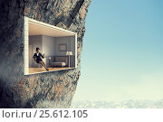 Купить «Office interior in rock. Mixed media . Mixed media», фото № 25612105, снято 23 марта 2014 г. (c) Sergey Nivens / Фотобанк Лори