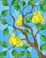 Illustration in the style of a stained glass window with the branches of pear  tree , the fruit branches and leaves against the sky, иллюстрация № 25612601 (c) Наталья Загорий / Фотобанк Лори