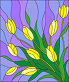 Illustration in stained glass style with a bouquet of yellow tulipson a purple background, иллюстрация № 25612605 (c) Наталья Загорий / Фотобанк Лори