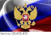 Двуглавый орел на фоне российского флага. Стоковое фото, фотограф Ирина / Фотобанк Лори