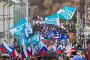 Флаги партии прогресса на марше в память о Борисе Немцове 26 февраля 2017 года, эксклюзивное фото № 25616549, снято 26 февраля 2017 г. (c) Алексей Шматков / Фотобанк Лори