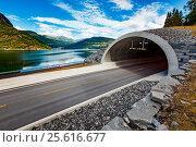 Купить «Mountain road in Norway. The entrance to the tunnel.», фото № 25616677, снято 24 июля 2016 г. (c) Андрей Армягов / Фотобанк Лори