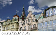 Купить «Karlovy Vary (Carlsbad) -- famous spa city in western Bohemia, very popular tourist destination in Czech Republic», видеоролик № 25617345, снято 26 февраля 2017 г. (c) Владимир Журавлев / Фотобанк Лори
