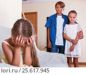 Купить «little girl is jealous sister of stepbrother», фото № 25617945, снято 26 мая 2020 г. (c) Яков Филимонов / Фотобанк Лори