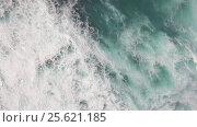 Купить «Flying over ocean with big foamy waves», видеоролик № 25621185, снято 4 ноября 2016 г. (c) Данил Руденко / Фотобанк Лори