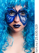 Купить «Face paint of woman with butterfly», фото № 25630529, снято 1 июня 2013 г. (c) Elnur / Фотобанк Лори