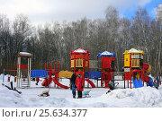 Большая детская игровая площадка в лесопарке Кусково зимой (2017 год). Редакционное фото, фотограф Алексей Гусев / Фотобанк Лори