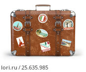 Купить «Old suitcase baggage with travel stickers isolated on white background.», фото № 25635985, снято 28 мая 2020 г. (c) Maksym Yemelyanov / Фотобанк Лори