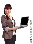 Young Smiling Business Woman With Laptop isolated on white. Стоковая иллюстрация, иллюстратор VictorStudio / Фотобанк Лори