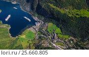 Купить «Geiranger fjord, Beautiful Nature Norway Aerial footage.», видеоролик № 25660805, снято 1 марта 2017 г. (c) Андрей Армягов / Фотобанк Лори