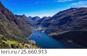 Купить «Geiranger fjord, Beautiful Nature Norway Aerial footage.», видеоролик № 25660913, снято 2 марта 2017 г. (c) Андрей Армягов / Фотобанк Лори