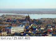 Купить «View of Samara City with church and Volga River from the view point of Railway station», фото № 25661465, снято 20 ноября 2016 г. (c) Юлия Батурина / Фотобанк Лори