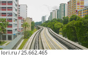 Купить «Timelapse view of  Singapore Light Metro moving through the tracks», видеоролик № 25662465, снято 26 февраля 2017 г. (c) Кирилл Трифонов / Фотобанк Лори