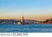 Купить «The Maiden's Tower in istanbul, Turkey», фото № 25666509, снято 18 января 2019 г. (c) Mikhail Starodubov / Фотобанк Лори