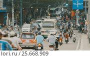 Купить «Peak hour. Dense traffic in Ho Chi Minh City. Vietnam.», видеоролик № 25668909, снято 13 октября 2016 г. (c) Mikhail Davidovich / Фотобанк Лори