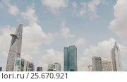 Купить «Skyscrapers business center in Ho Chi Minh City on Vietnam Saigon on background blue sky», видеоролик № 25670921, снято 3 марта 2017 г. (c) Mikhail Davidovich / Фотобанк Лори
