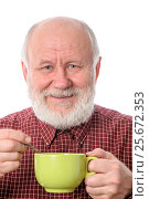 Купить «Cheerfull senior man with green cup, isolated on white», фото № 25672353, снято 22 февраля 2017 г. (c) Сергей Старуш / Фотобанк Лори