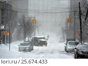 Купить «Heavy snow continues to fall as New Yorkers in Williamsburg, Brooklyn try to go about there every day business or attempt to enjoy the snow. Over 11 inches...», фото № 25674433, снято 23 января 2016 г. (c) age Fotostock / Фотобанк Лори