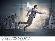 Купить «Angel investor concept with businessman with wings», фото № 25699617, снято 20 августа 2018 г. (c) Elnur / Фотобанк Лори
