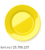 Купить «Empty yellow ceramic round plate isolated on white», фото № 25700237, снято 25 мая 2018 г. (c) Роман Самохин / Фотобанк Лори
