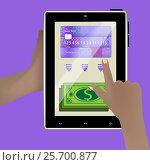 Купить «The concept of cashing money. Smart tablet», иллюстрация № 25700877 (c) Глазкова Ксения / Фотобанк Лори