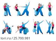 Купить «Pair of dancers dancing modern dance isolated on white», фото № 25700981, снято 19 февраля 2013 г. (c) Elnur / Фотобанк Лори