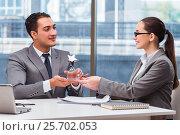 Купить «Businesspeople receiving award prize in office», фото № 25702053, снято 7 октября 2016 г. (c) Elnur / Фотобанк Лори