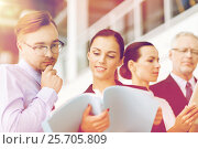 Купить «business team with folders meeting at office», фото № 25705809, снято 3 июля 2016 г. (c) Syda Productions / Фотобанк Лори