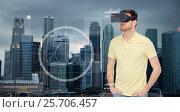 Купить «man in virtual reality headset or 3d glasses», фото № 25706457, снято 12 марта 2016 г. (c) Syda Productions / Фотобанк Лори