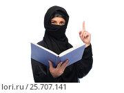 Купить «muslim woman in hijab with book over white», фото № 25707141, снято 4 января 2017 г. (c) Syda Productions / Фотобанк Лори