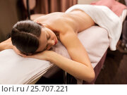 Купить «young woman lying at spa or massage parlor», фото № 25707221, снято 26 января 2017 г. (c) Syda Productions / Фотобанк Лори