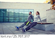 Купить «couple doing triceps dip exercise outdoors», фото № 25707317, снято 17 октября 2015 г. (c) Syda Productions / Фотобанк Лори