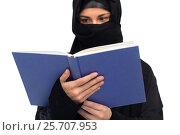 Купить «muslim woman in hijab reading book over white», фото № 25707953, снято 4 января 2017 г. (c) Syda Productions / Фотобанк Лори