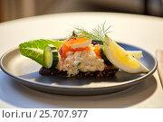 Купить «close up of toast skagen with caviar and bread», фото № 25707977, снято 16 января 2017 г. (c) Syda Productions / Фотобанк Лори