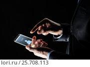 Купить «close up of hands with incoming call on smartphone», фото № 25708113, снято 6 сентября 2016 г. (c) Syda Productions / Фотобанк Лори