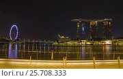 Купить «Nighttime Singapore hyperlapse -  Marina Bay», видеоролик № 25708333, снято 18 октября 2018 г. (c) Кирилл Трифонов / Фотобанк Лори