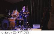 Купить «Teen rock music - Passionate dashing girl percussion drummer perform music break down», фото № 25711085, снято 20 июня 2019 г. (c) Константин Шишкин / Фотобанк Лори