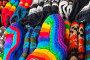 Colorful woolen socks lay on counter, фото № 25711657, снято 25 февраля 2017 г. (c) Евгений Сергеев / Фотобанк Лори