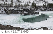 Купить «Floating of ice and sludge on Altai river Katun in winter season», видеоролик № 25712645, снято 1 марта 2017 г. (c) Serg Zastavkin / Фотобанк Лори