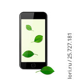 Купить «Black modern smartphone on a white background with a Wallpaper with green leaves», иллюстрация № 25727181 (c) Анастасия Улитко / Фотобанк Лори