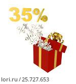 Thirty-five percent for sale in red box. Стоковая иллюстрация, иллюстратор Дмитрий Самойленко / Фотобанк Лори