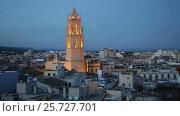 Купить «Panoramic evening view of the Cathedral in Reus», видеоролик № 25727701, снято 2 октября 2016 г. (c) Яков Филимонов / Фотобанк Лори